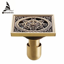 Drains 10*10cm Antique Brass Shower Floor Drain Cover Euro Art Carved Bathroom Deodorant Drain Strainer Waste Grate HJ-8507S(China)