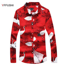 YFFUSHI New Arrival Men Shirt Long Sleeve Fashion White Crane Printing Red Shirts Camisa Masculina Slim Fit Casual Style 6XL