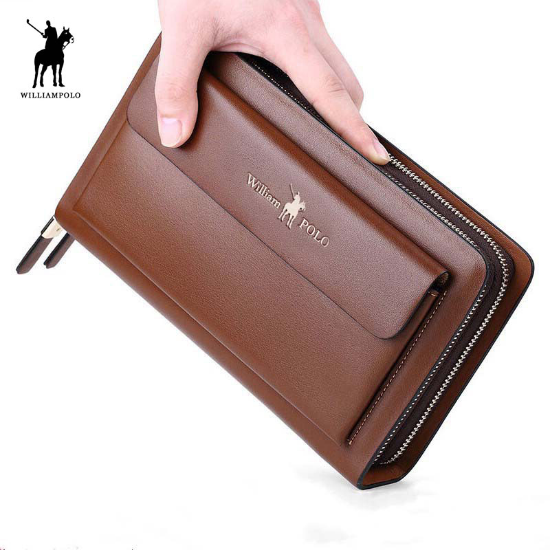 Business Mens Brand Clutch Bags  Leather Phone Credit Card Organizer Large Men Zipper Hand Bag Gift for Men 162