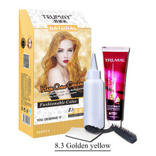 1 set 80ml*2 Fashion Golden Yellow Color Natural Permanent Hair Dye TRUMAY Hair Color Cream Professionalize Personal Color(China)