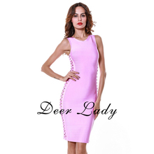 New Arrivals 2016 Sexy Women Bodycon HL Bandage Dress Lilac Side Cut Out Dresses For Clubwear Wholesale