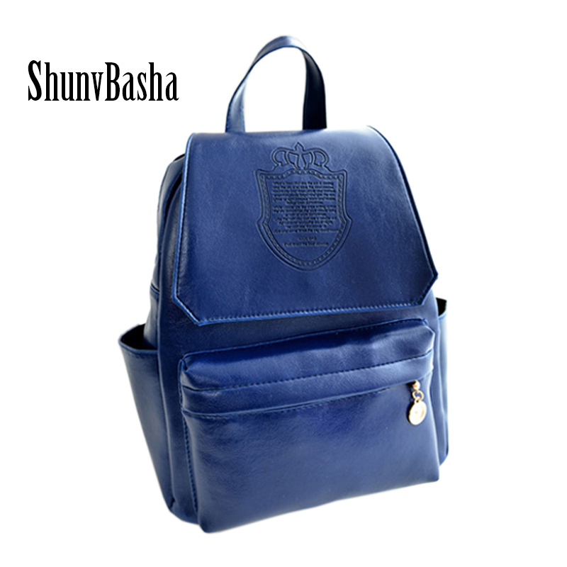 Leather Backpacks for girls 2016 Women backpack 8 Colors Crown PU Leather high quality Women Leather Backpack Travel bag<br><br>Aliexpress