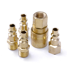 "5Pcs Brass Quick Coupler Set Solid Air Hose Connector Fittings 1/4"" NPT Tools(China)"