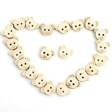100pcs Little Teddy Bear Head Wooden Buttons DIY Craft Sewing Scrapbook Hot Sale