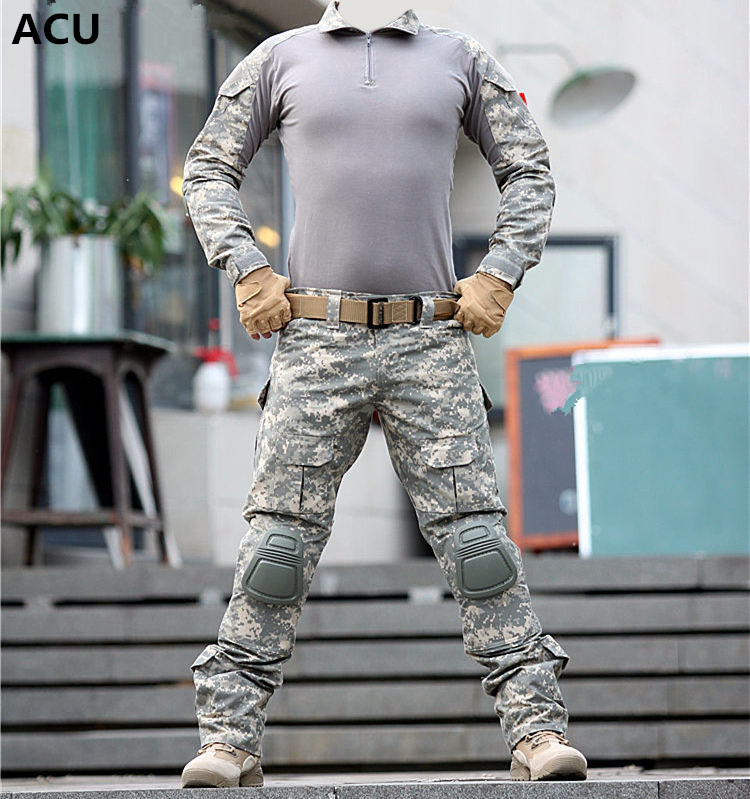 Tactical--uniform-clothing-army-of-the--combat-uniform-tactical-pants-with-knee-pads-camouflage_