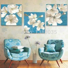 Hand Painted White Flowers Blue Canvas Oil Paintings Modern Abstract 3 Panel Home Decoration Wall Art Pictures Sets