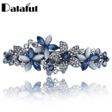 Flossy Opals Crystal Flower Rhinestone Hair Clip Barrette Hairpin Headwear Accessories Jewelry For Woman Girls Wedding F132(China)