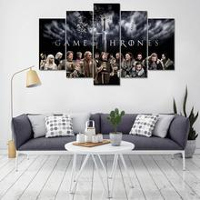 5 Piece Framed HD Printed Canvas Artwork Game Of Thrones Character Home Decoration Piece Oil Painting Poster Picture Pop Art
