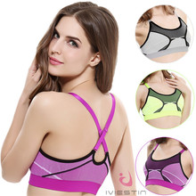 2017 Wholesale High Quality 3 Colors Women Padded Sleeveless Cross Straps Yoga Running Gym Athletic Sport Bra Camisole Gym Bras(China)