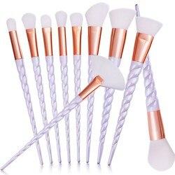 Профессиональная 10 шт. белая ручка макияж кисти набор основа кисти для румян контуринг лица Косметическая кисть Макияж набор 5 цветов