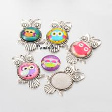 10 Sets Tibetan Style Owl Pendant Cabochon Bezel Settings and Owl Printed Glass Half Round/Dome Cabochons, Antique Silver