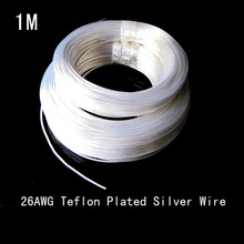 free shipping 1M 26AWG Teflon plated silver wire of 0.12 high-temperature wire computer power wire dupont wire(China)