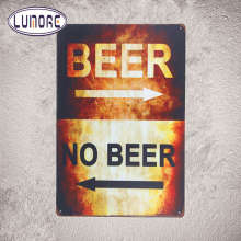 """BEER or NO BEER Directional "" Tin Sign Metal Bar Restaurant Lounge Restaurant Bar Man Cave Wall Decor"