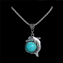 H:HYDE Fashion Stone Statement Necklace Vintage Tibetan Silver Chain Dolphin Pendant Necklace Animal Style Fine Jewelry