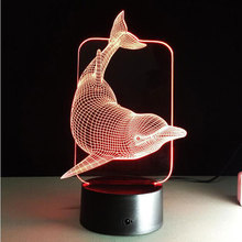 3D illusion Led night light 7colors dolphin lamp table novelty products christmas lights with touch button children night light(China)