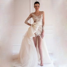 2016 Fashion Jewel Appliqued Lace Sleeves Short Front Long Back Wedding Dress Beach Summer
