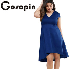 Gosopin Elegant Party Dresses Navy Blue Plus Exposed Shoulder Skater Dress Formal High Low Dresses Night Club Dress LC22977