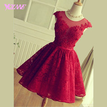 YQLANNE Red Short Homecoming Dresses Lace Graduation Party Dress Lace Up Knee Length Vestido de 15 Anos Baile(China)