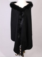 New Arrival Black Women's 100% Wool Cape  Shawl Scarf Rabbit Fur Cape Chinese Traditional Warm Pashmina 176 x 68cm C022