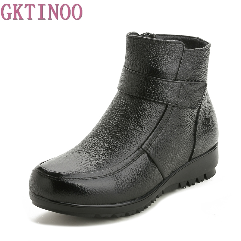 GKTINOO Women Winter Boots Fashion Genuine Leather Ankle Boots Women Round toe Flat Shoes Soft-soled Woman Snow Boots Plus Size<br>