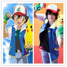 High Quality Pokemon Ash Ketchum Cosplay Costume Trainer Costume Blue Jacket+Gloves+Hat Ash Ketchum Costumes For Men And Women