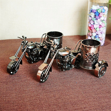 HAOCHU Cool Diecast Metal Motorcycle Model Pen Vase Holder Office Desk Tidy Container Stationery Kids Toy Gifts Desktop Box