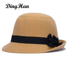 [DingHan] Brands Winter Fedora hats for female ladies felt top hat for girls homburg Women's hat Bowler caps chapeu masculino(China)