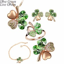 2017 new 5 in set Necklace earrings rings bracelet brooch jewelry set wedding rose gold Crystal Clover 4 Leaf heart Pendant 9554(China)