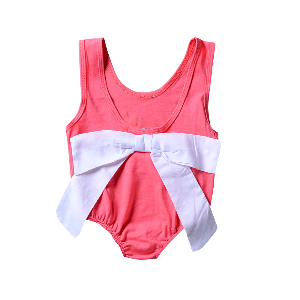 Infant Baby Clothes Pink Pineapple Sleeveless V Back Romper White Bow Wide Collar Jumpsuit Bebe Kids Clothes