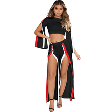 2018 Fashion Women Crop Top And Side Split Pants Suit New Fashion 2 Piece Clothing Set Lady Sexy Tracksuit Outfits Black/White(China)