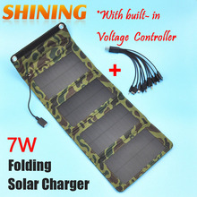 5.5V 7W Portable Folding Solar Panel Charger Battery USB Output Controller Pack for Phones PSP MP4 With 10 in 1 Charging Cable
