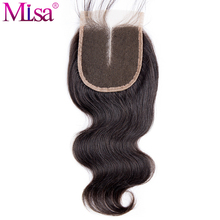 Mi Lisa Hair Body Wave 4x4 Lace Closure Middle Part Remy Human Hair 130% Density Natural Color 1B Free Shipping Can Be Dyed Well(China)