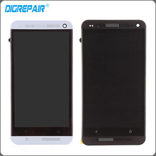 Silver Black For HTC One M7 LCD display touch screen with digitizer + Bezel Frame Full Aassemble , Free Shipping + Tracking No.