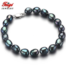 Feige Special offer Vintage Style Baroque 7-8MM Black Freshwater Cultured Pearl Strand Bracelets For Women's Fine Pearl Jewelry(China)