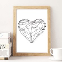 Nordic Gepmetric Heart Shape A4 Canvas Art Print Painting Poster Wall Pictures For Living Room Wall Decoration Home Decor(China)