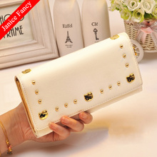 Clearance Sale Hello Kitty Designer PU Leather 3 Folds Neceser Feminina Sac Women Coin Card Wallet Purse 19*11*3cm