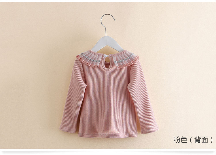 2018 Spring Autumn 100% Cotton White Grey Pink Solid Color Long Sleeve Pleated Turn-Down Collar Neck T Shirt For Girls 10 Years (4)