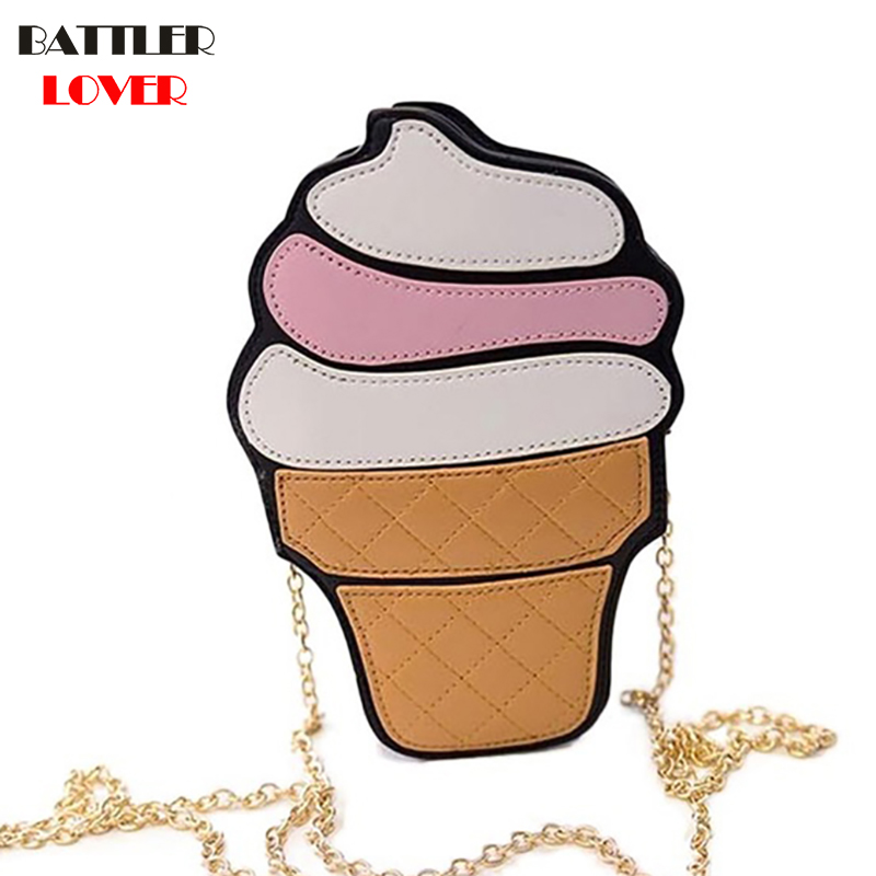 2017 Cute Funny Ice Cream Cake Hamburger Bag Chain Messenger Bag Party Bag Small Crossbody Bags For Women Cute Purse Handbags