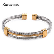 ZORCVENS new arrival spring wire line colorful titanium steel bracelet stretch Stainless steel Cable Bangles for women(China)