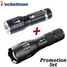 Cree XM-L T6 Tactical Flashlight 8000 Lumens 5 Modes Portable Lamp waterproof Torch zaklamp Light 18650/AAA Battery Charger