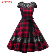 2017 Winter Woman Dress Vintage O-Neck Classic Red Sexy Lace A-Line Scottish Plaid Big Size Party Wedding Dating Prom Vestidos(China)