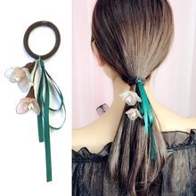 M MISM Korean Style Women Elastic Hair Bands Elegant Girl Ribbon Flower Rubber Bands Ponytail Holder Scrunchy Hair Accessories