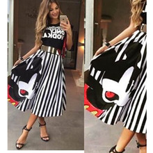 Buy Summer Women Mickey Maxi Skirt Striped A-line Long Skirts Elastic High Waist Kawaii Female Elegant Pleated Beach Midi Skirts z15 for $12.75 in AliExpress store