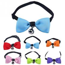 Quick Release Dog & Cat Collar Kitten Polyester Bow Tie Safety Elastic 6 colors Bowtie With Bell Pet Supplier