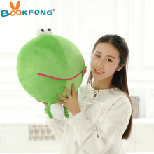Cute Green Frog Plush Toys Mung Bean Frogs Cloth Doll Kids Baby pillow Cushion stuffed plush doll Child Birthday Gift 50*38cm