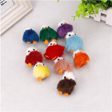 5pcs/set 2017 New Rabbit Fur Keychain PomPom Cell Phone Car Bag Keychain girl duck Silver hanging Pendant Charm Tassel Key Ring