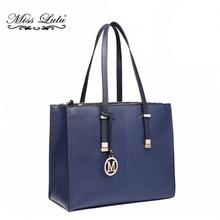 Miss Lulu Women Designer Shoulder Handbag Faux Leather Large Navy Tote Bag with Adjustable Handles LT6636