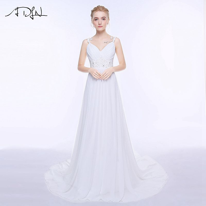 ADLN Real Wedding Dresses In Stock Plus Size Spaghetti Straps Chiffon Bridal Gowns Vestidos De Noiva with Lace Up Back 4