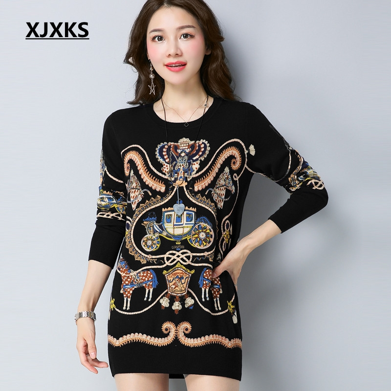 XJXKS New Knitted Sweaters Women Printing Pullovers Dress Brand Design Warm Soft Knitted Fashion New Women Long Sweater
