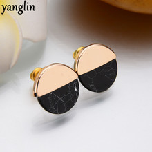 Simple Design Jewelry Double Color Earrings Round Faux Stone Stud Earrings For Women Trendy Earrings Fine Valentine's Day Gifts(China)